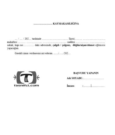 düğün nişan sünnet izin belgesi